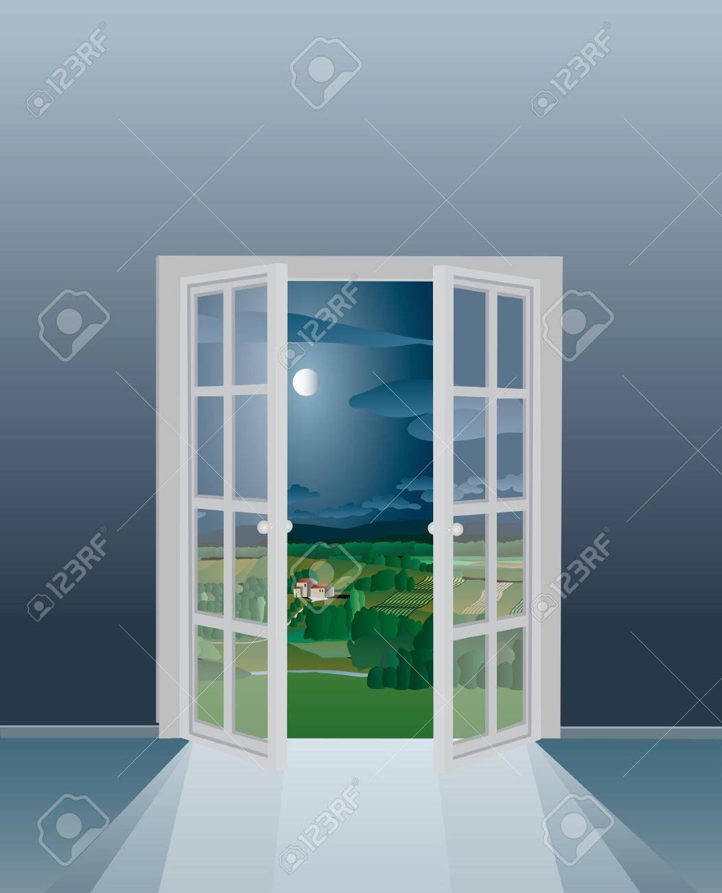 illustration of the empty room with opened french window Stock Vector - 8046293