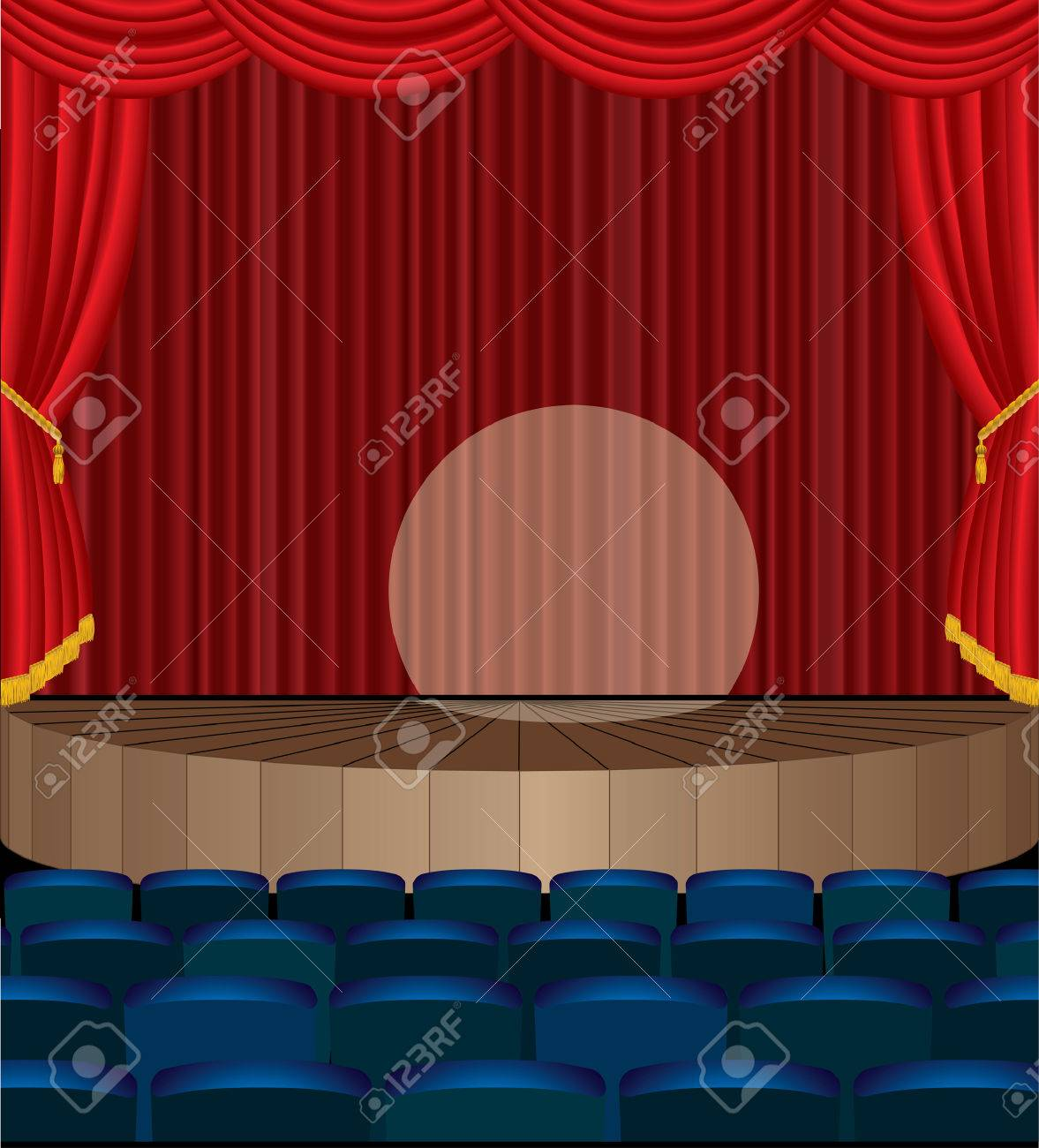 illustration of the empty theater with red curtain Stock Vector - 8087566