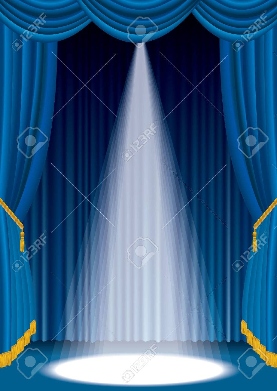 blue stage with one white spot light Stock Vector - 8110837