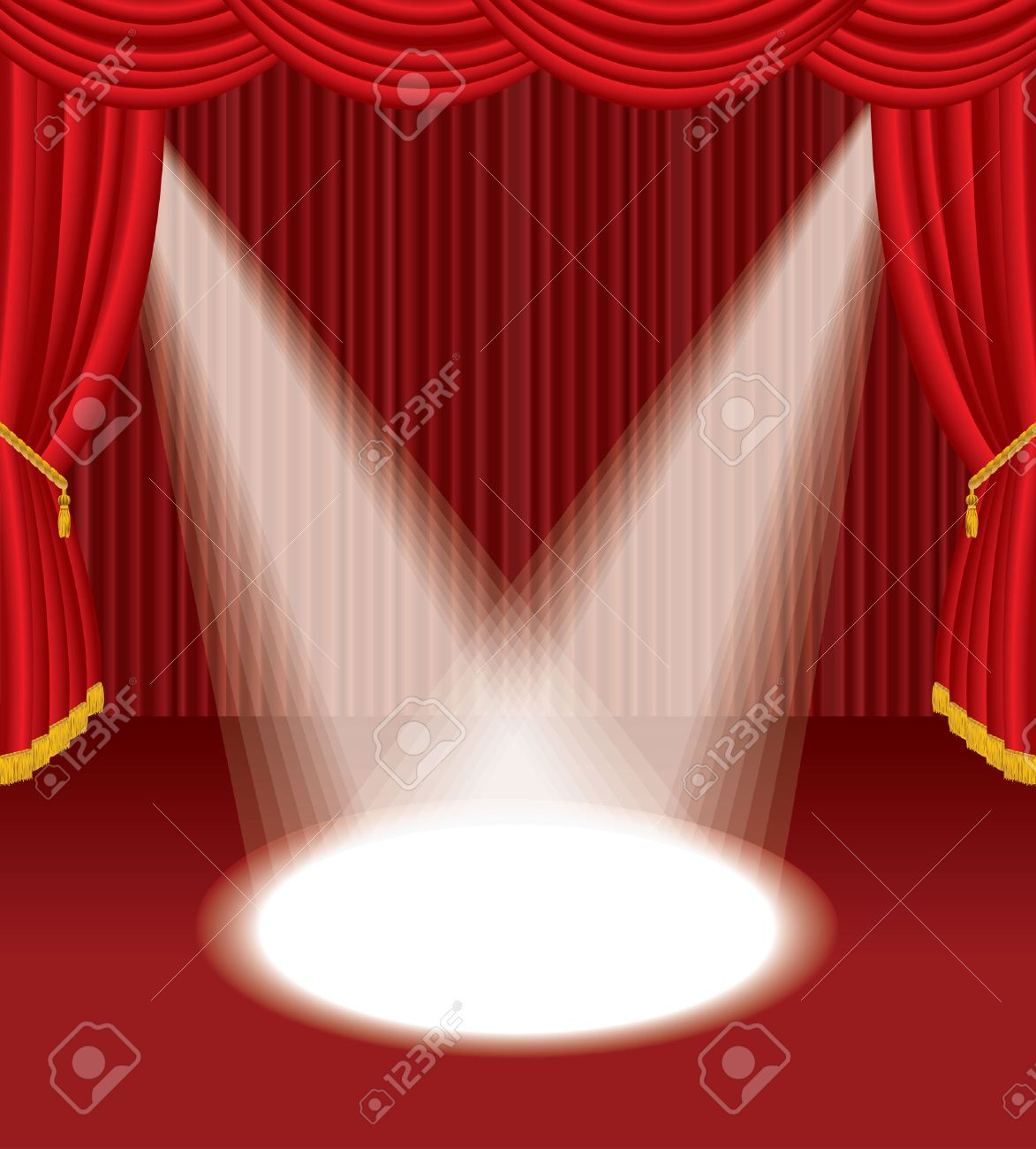 Red stage curtain with lights - Empty Red Stage With Two Spot Lights Stock Vector 8120083