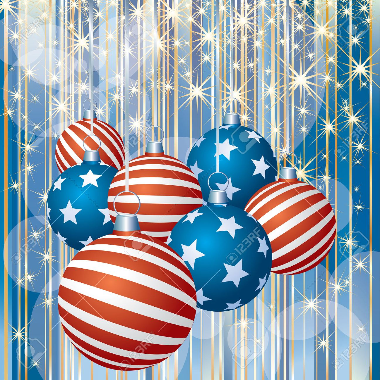 Abstract Christmas Background With Patriotic Balls Royalty Free ...