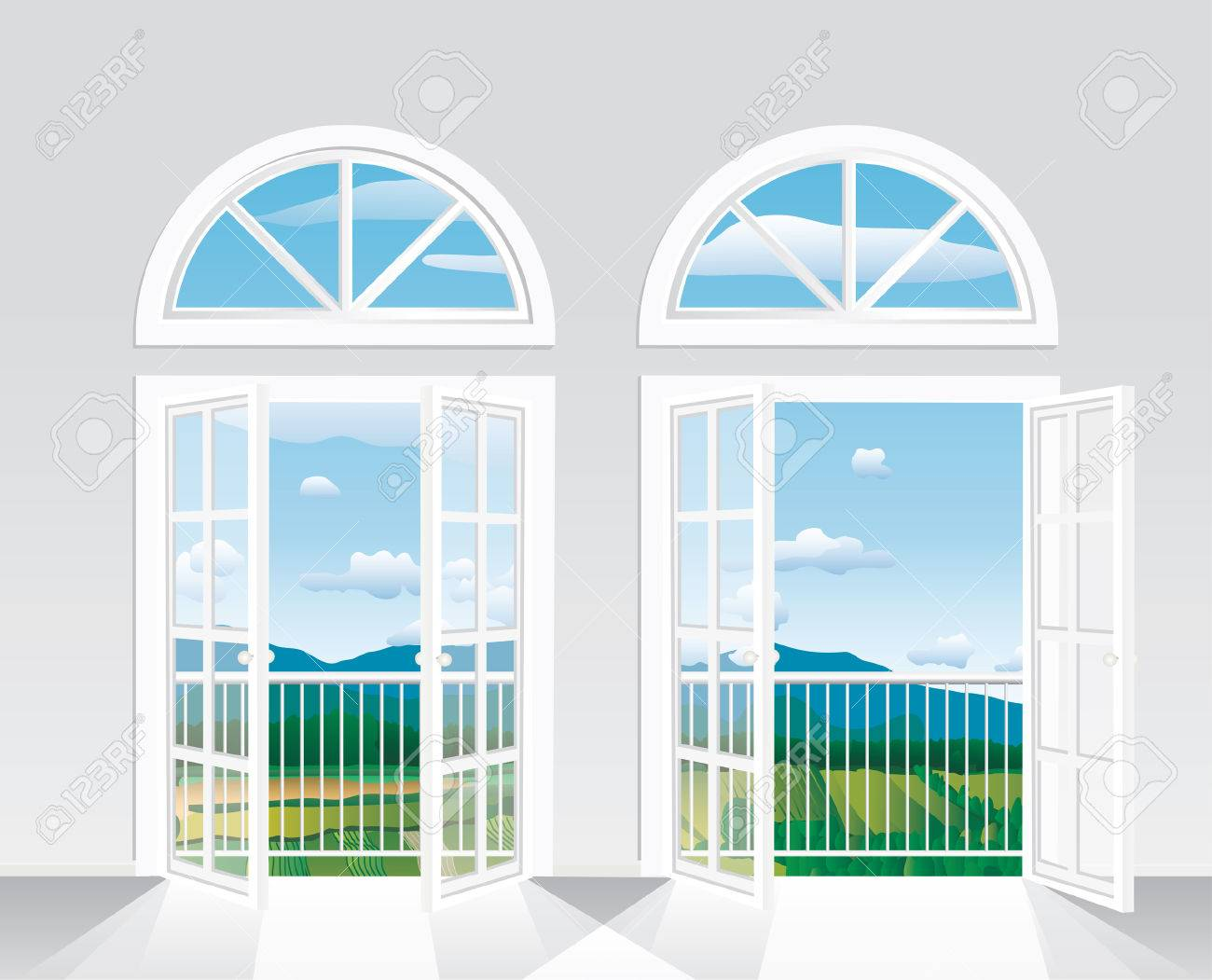 beautiful   view from white room to landscape Stock Vector - 8221057