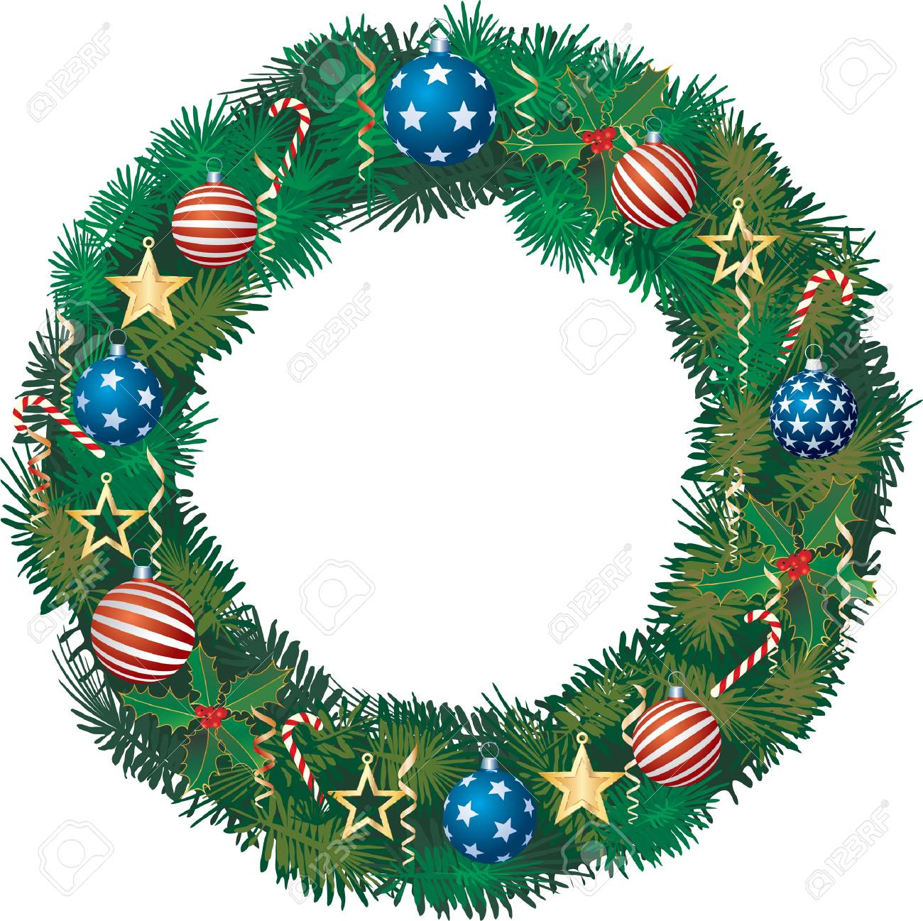 Patriotic Christmas.Patriotic Christmas Garland With Balls And Golden Stars