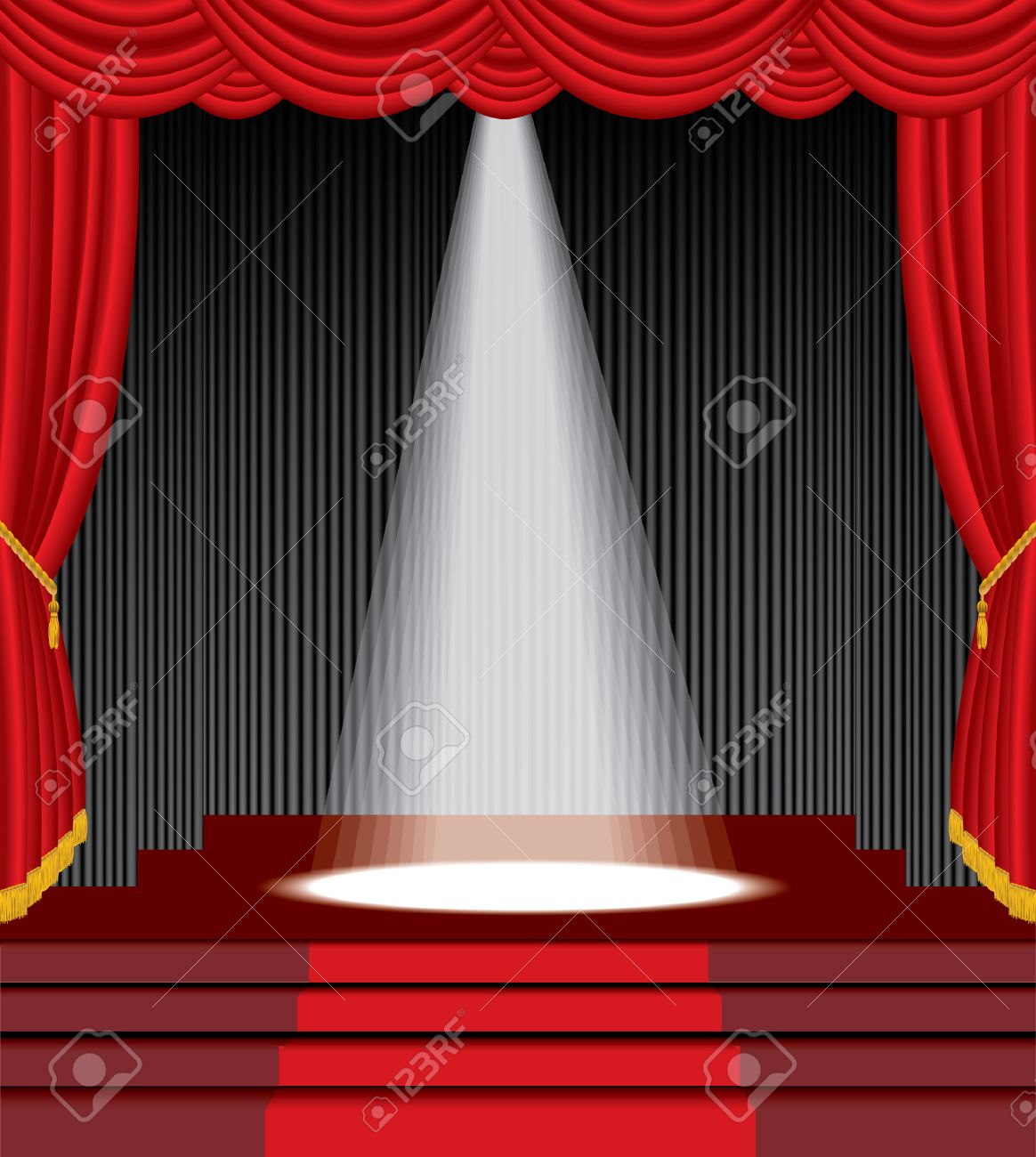 Stock photo dramatic red old fashioned elegant theater stage stock - Stage Theater Stage With Stairs And One White Spot Light