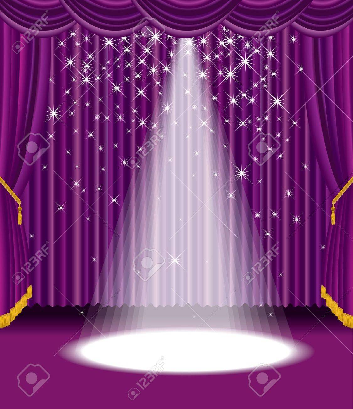 purple stage with falling stars Stock Vector - 8636831