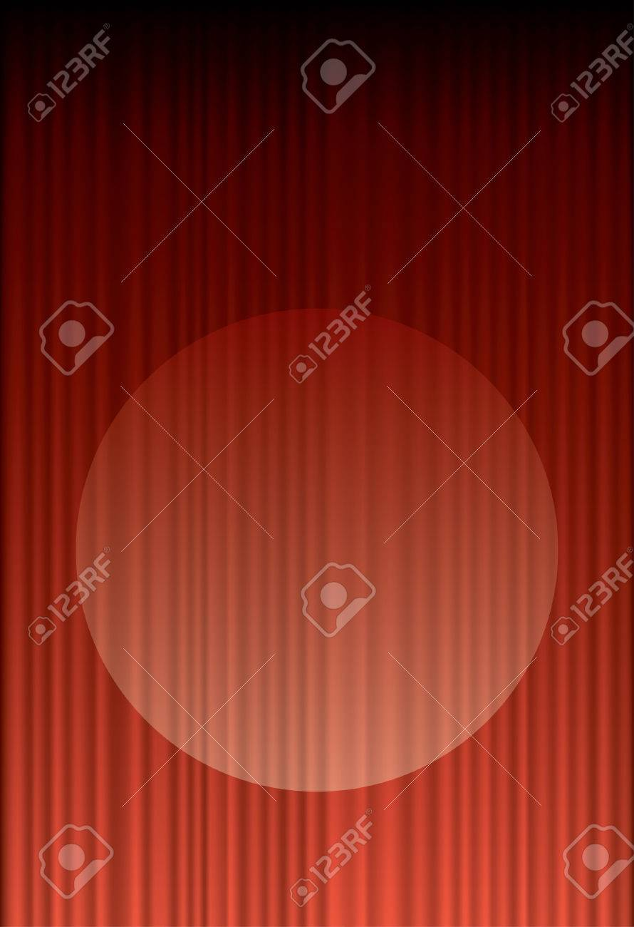 red stage curtain with spot light Stock Vector - 8664879