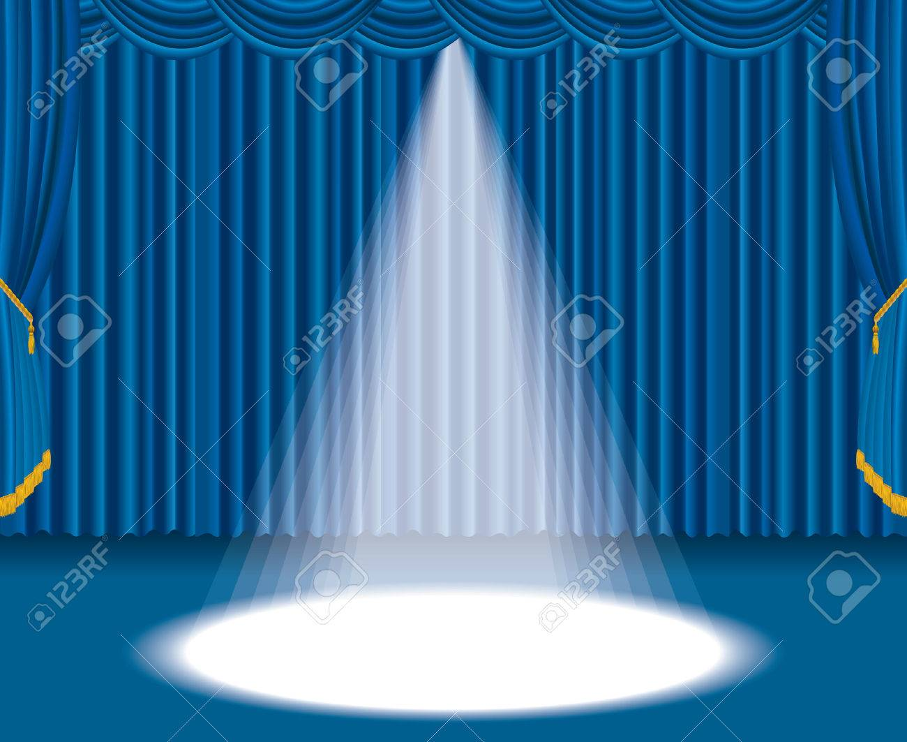 Light blue stage curtain - Vector Blue Stage With One Big Spot Light Stock Vector 8846339