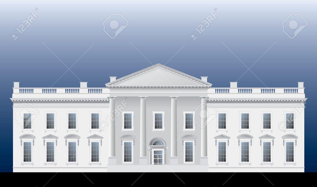 Banque dimages vecteur détaillée de dessin de la façade de la maison blanche