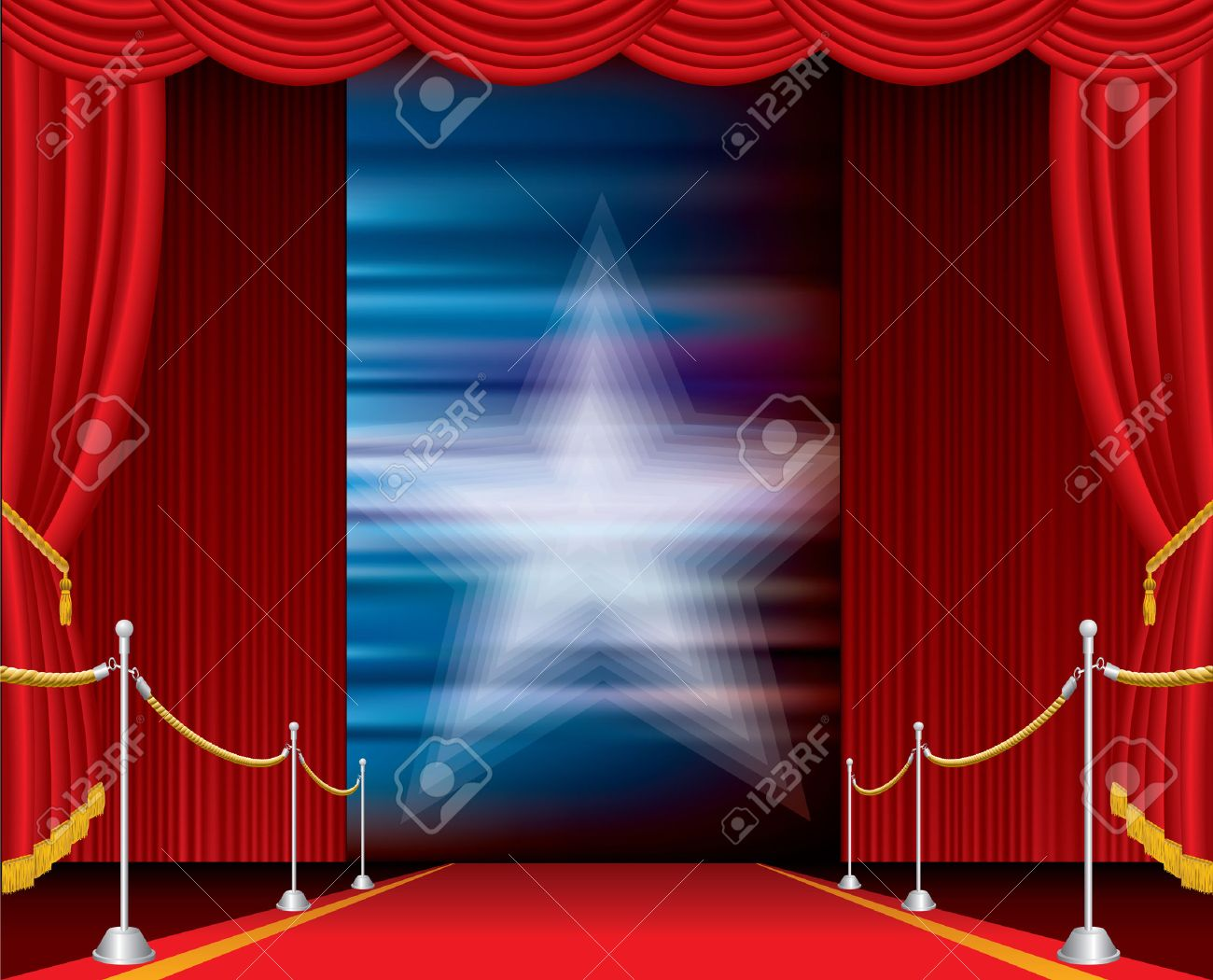vector opened stage with red curtain and blurry star Stock Vector - 9082913