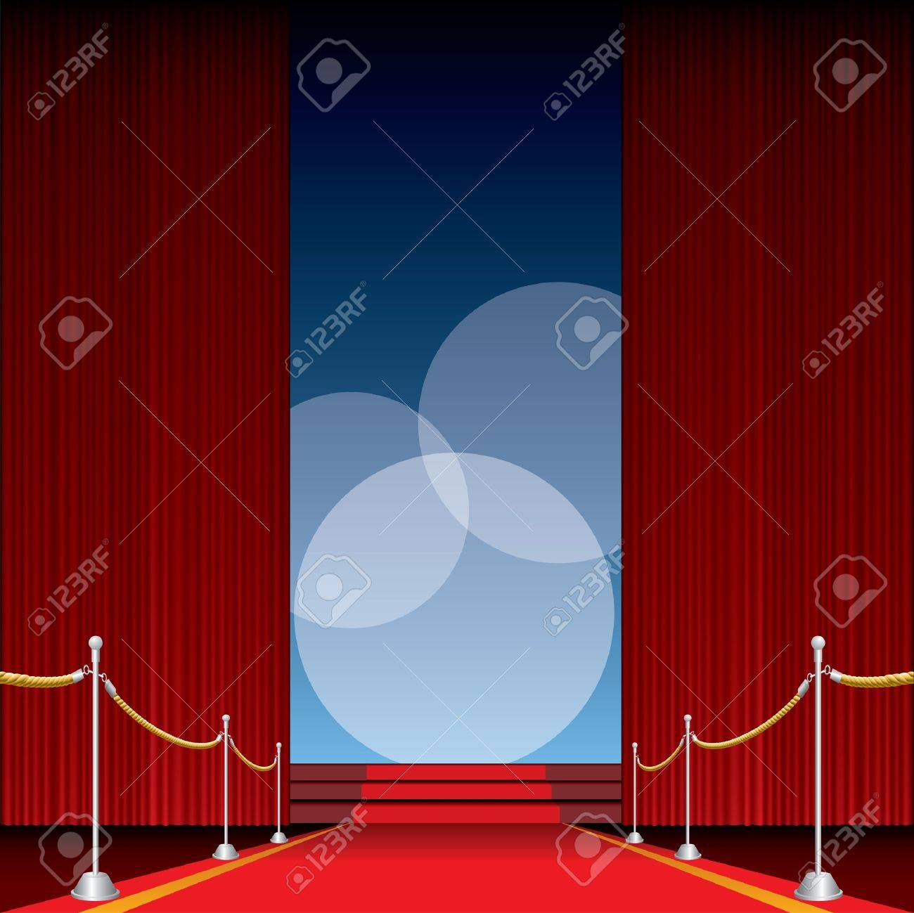 vector opened stage with red curtain and three spotlights Stock Vector - 9106706