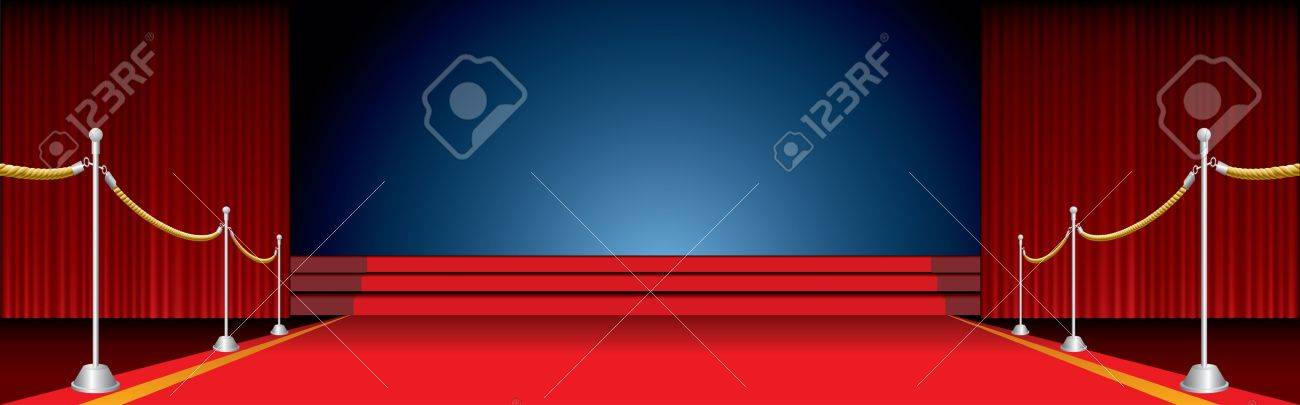 vector opened stage with red carpet and fence Stock Vector - 9147951