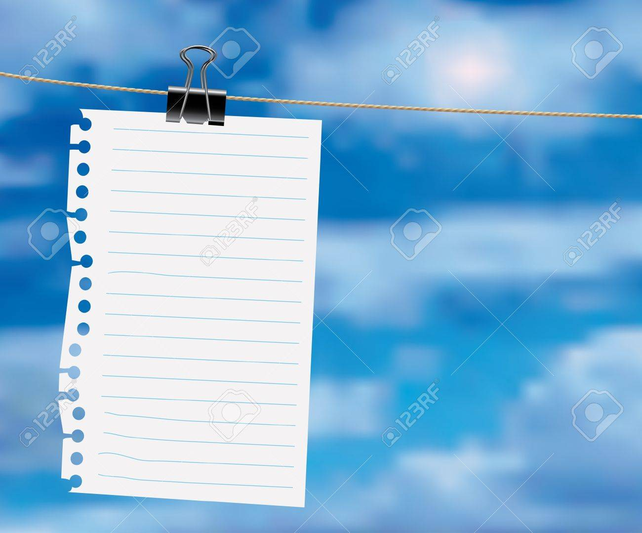 paper sheet on a clothes line with clouds Stock Vector - 9279699