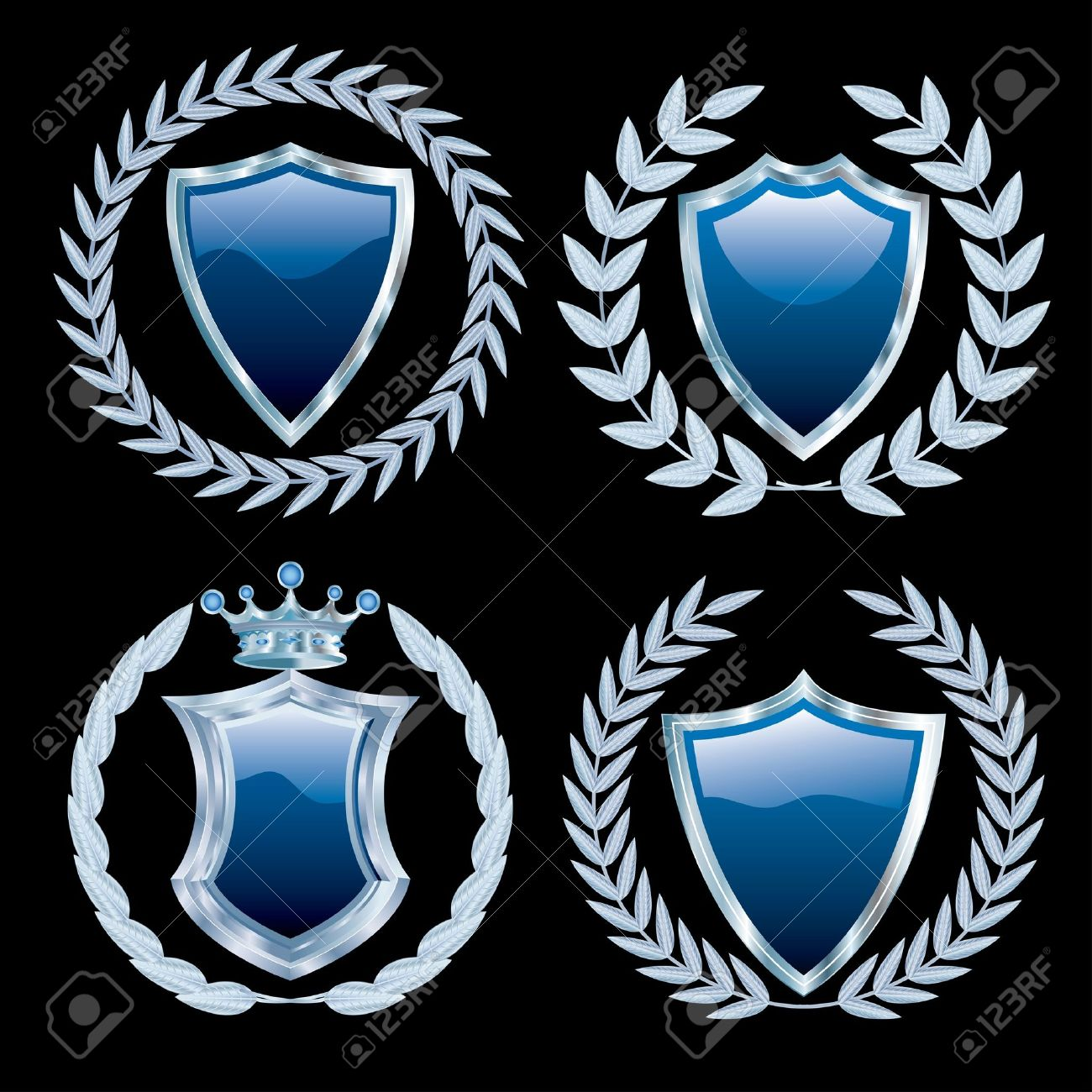 vector set of the blue shields with silver Stock Vector - 9369456