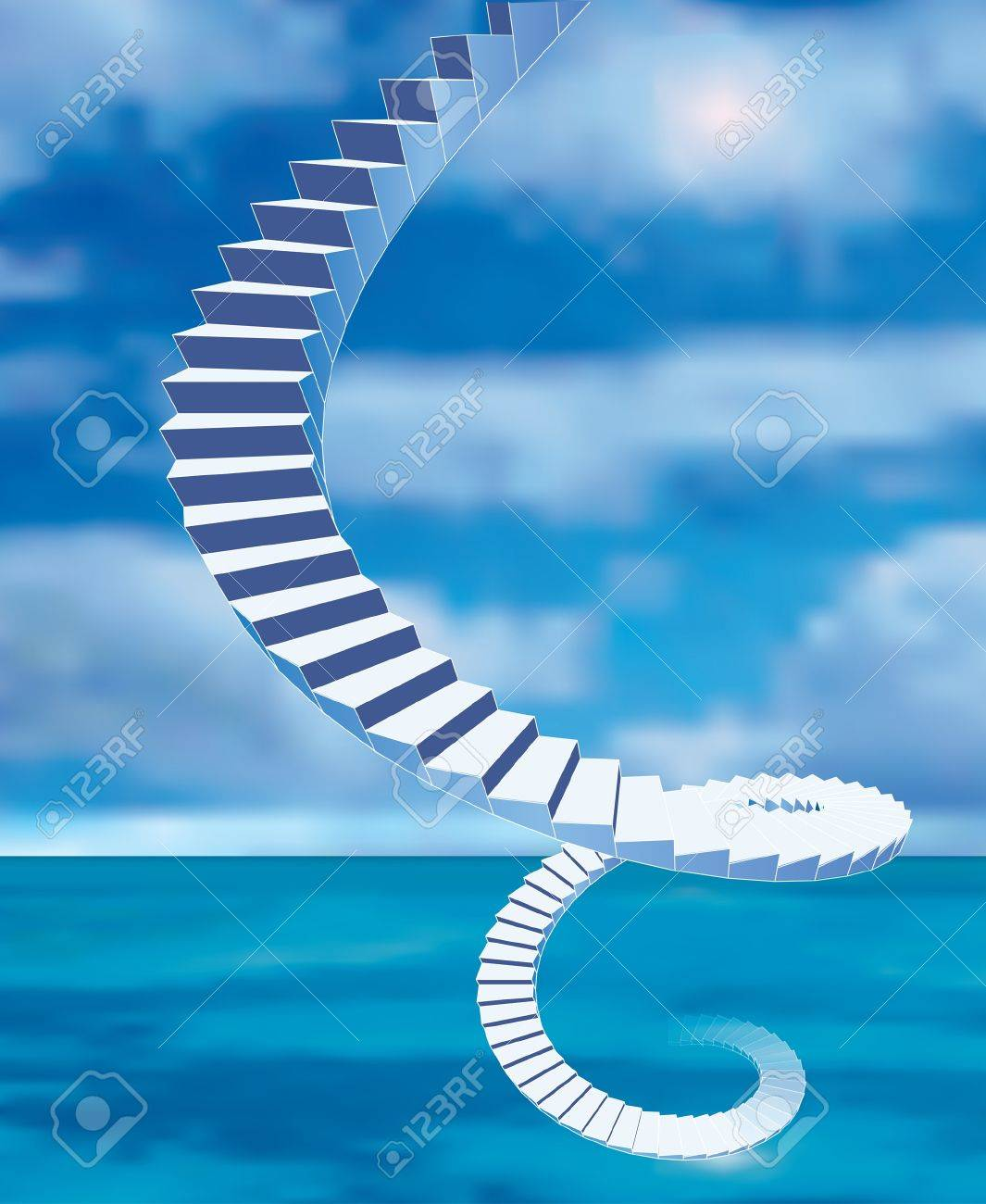 vector abstract stairs from the sea to heaven - 9478852