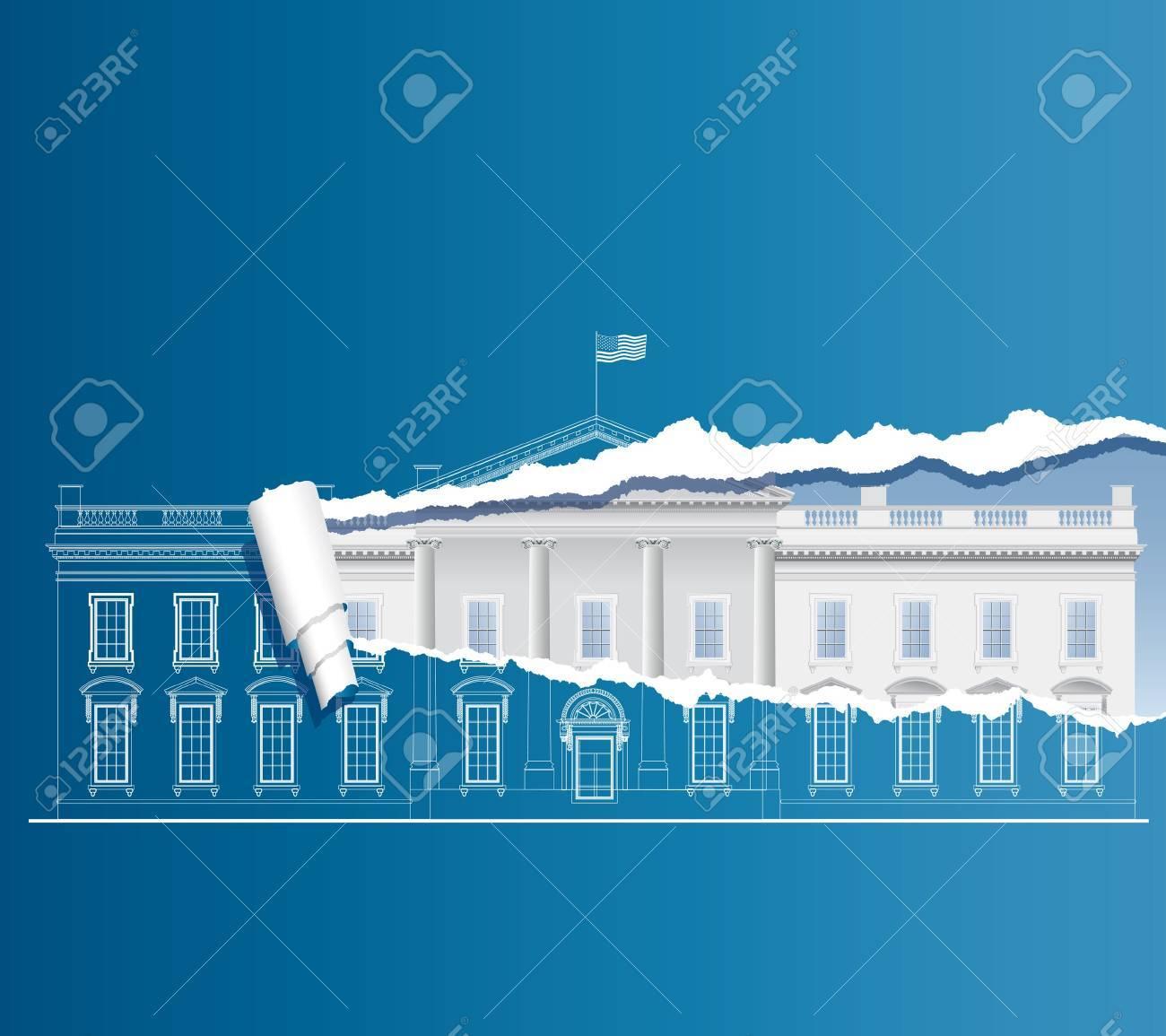 vector facade of the White house on torn blueprint Stock Vector - 9515442