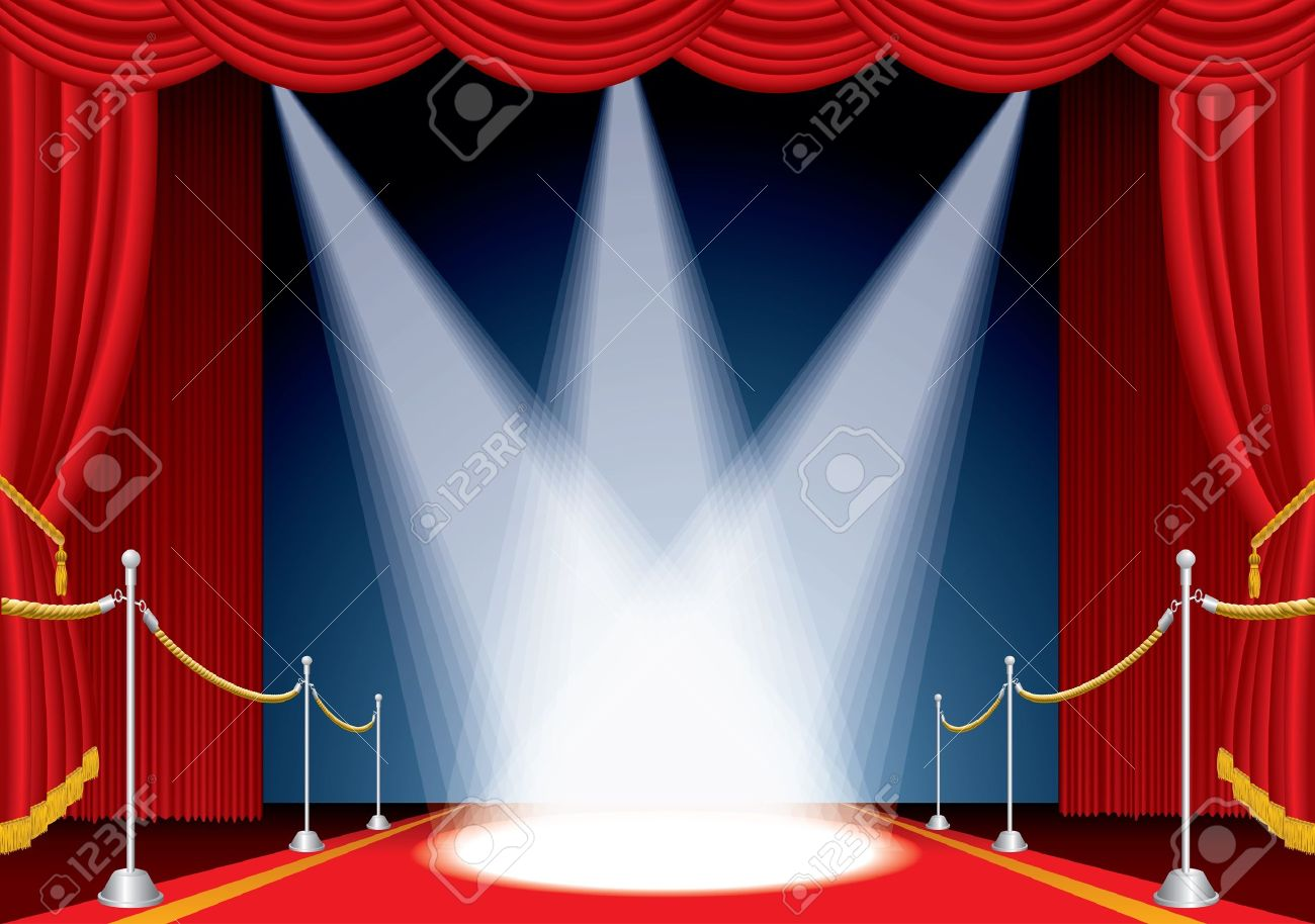 Red stage curtains open - Vector Opened Stage With Red Curtain And Three Spotlights Stock Vector 9551410