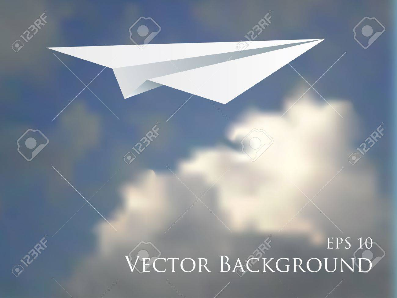 vector illustration of the paper plane over the cloudy sky Stock Vector - 9564881