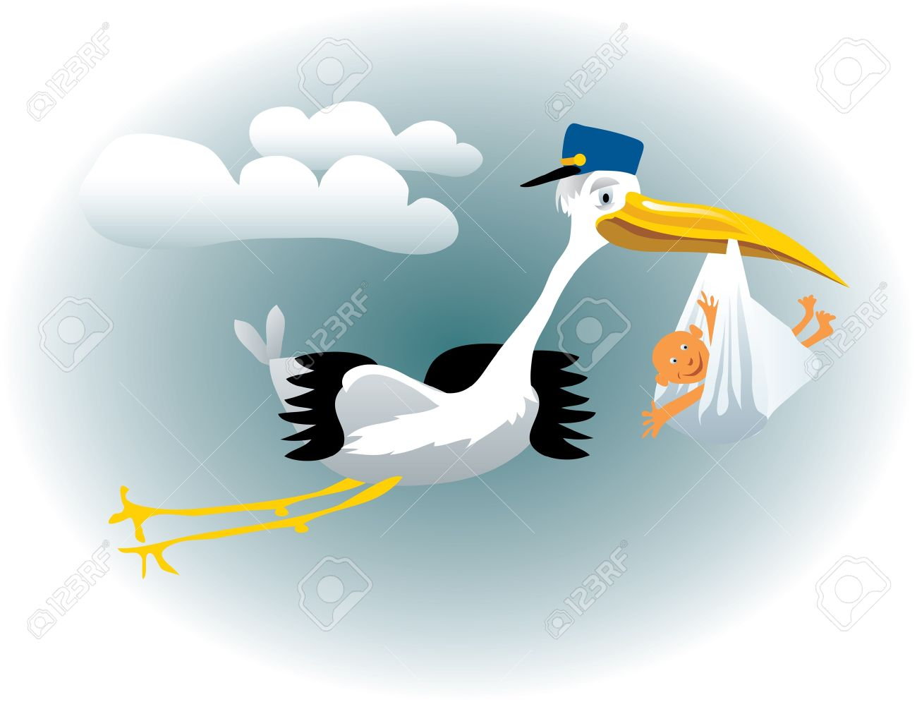 vector illustration of the stork with baby Stock Vector - 9607554