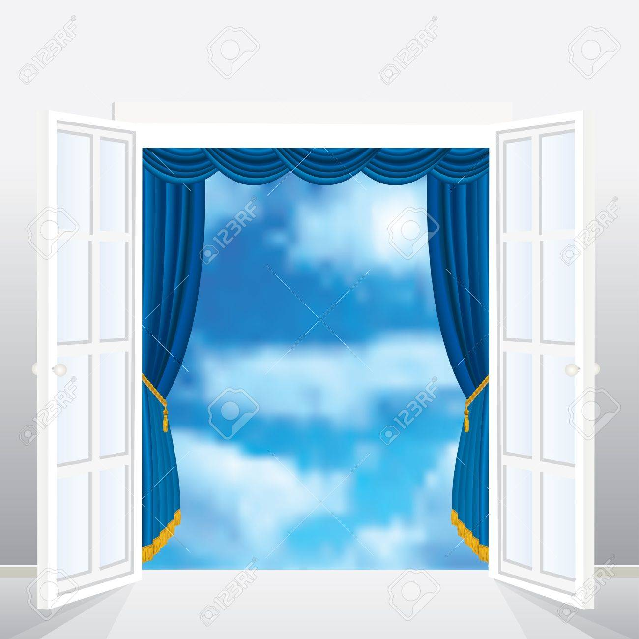 abstract vector composition with french window and curtain Stock Vector - 9705423