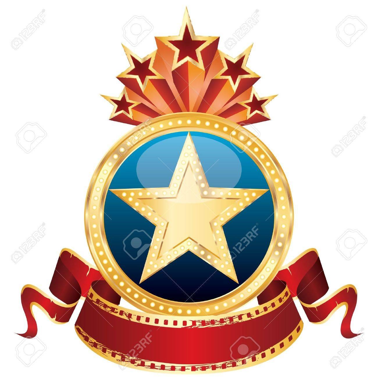 vector golden star on the blue medallion and blank cinema banner Stock Vector - 9717673