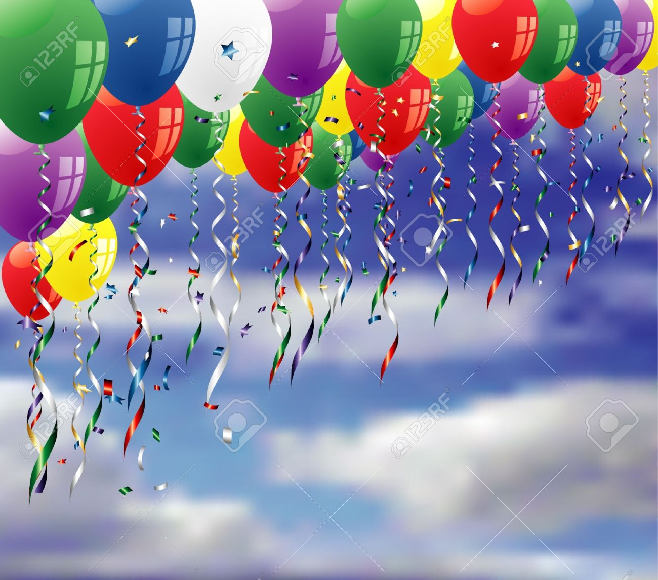 vector party background with confetti and balloons on sky Stock Vector - 9735735