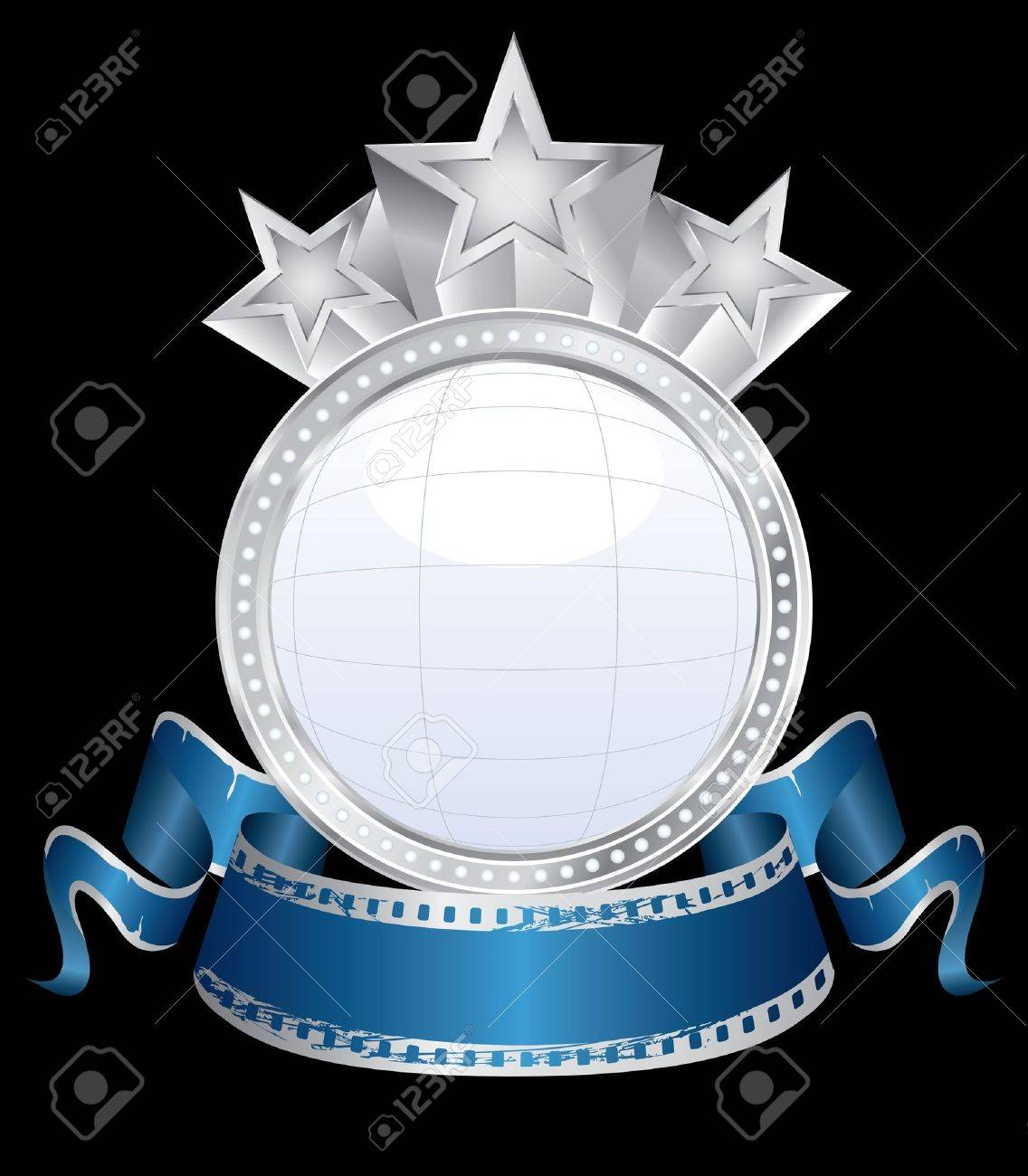 ector bubble blank silver cinema display with blue banner Stock Vector - 10001344