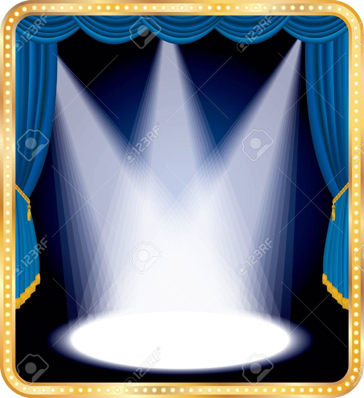 Blue stage curtains blue stage curtain vector free vector in - Vector Empty Stage With Blue Curtain And Three Spots Stock Vector 10075469