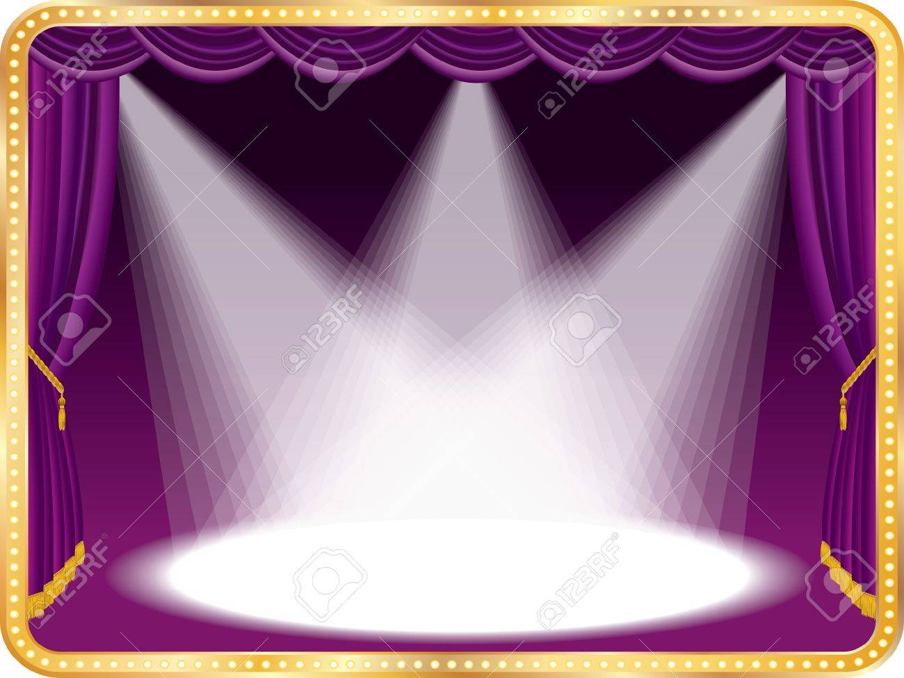 vector empty stage with violet curtain and three spots, eps 10 file Stock Vector - 10075496