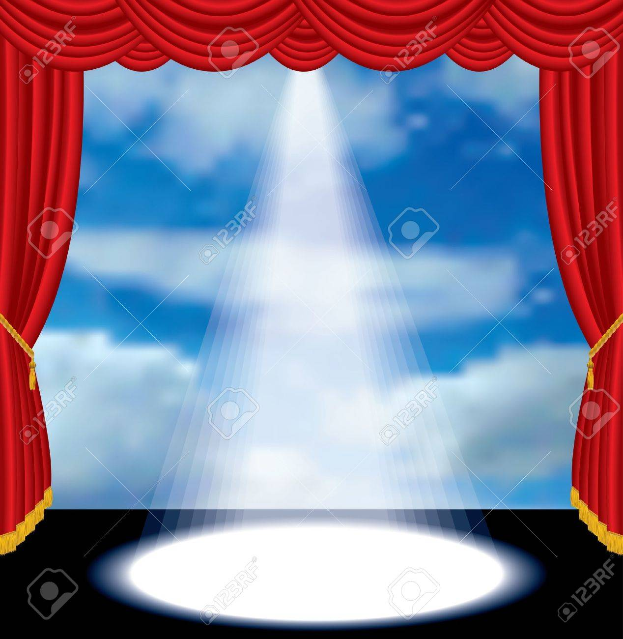 vector red curtain stage with cloudy sky Stock Vector - 10483575