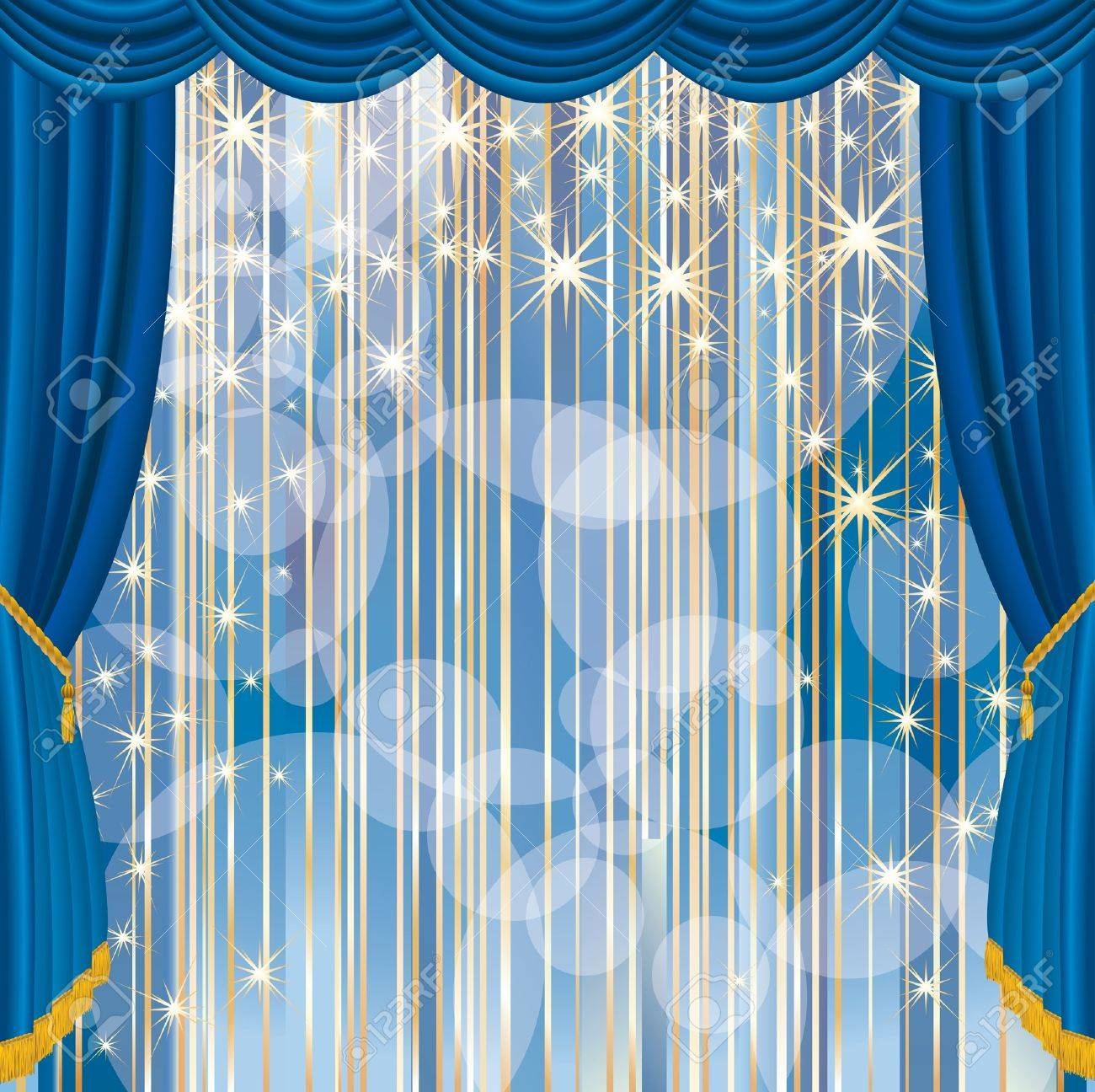 Blue stage curtains blue stage curtain vector free vector in - Theater Curtain Blue Stage With Stars And Strips Illustration