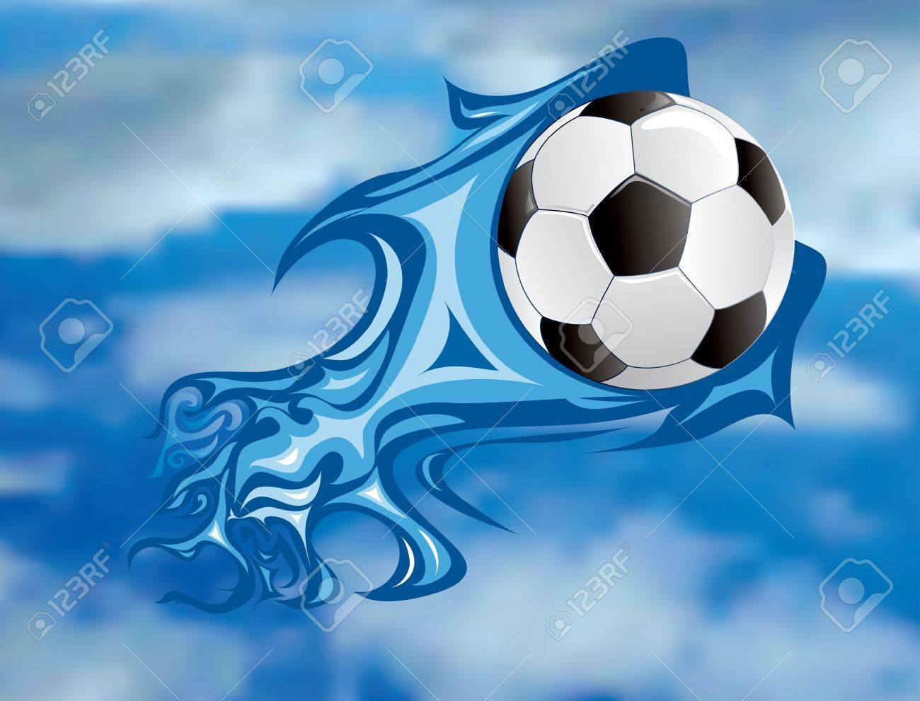 vector illustration of the soccer fireball in sky Stock Vector - 10825265