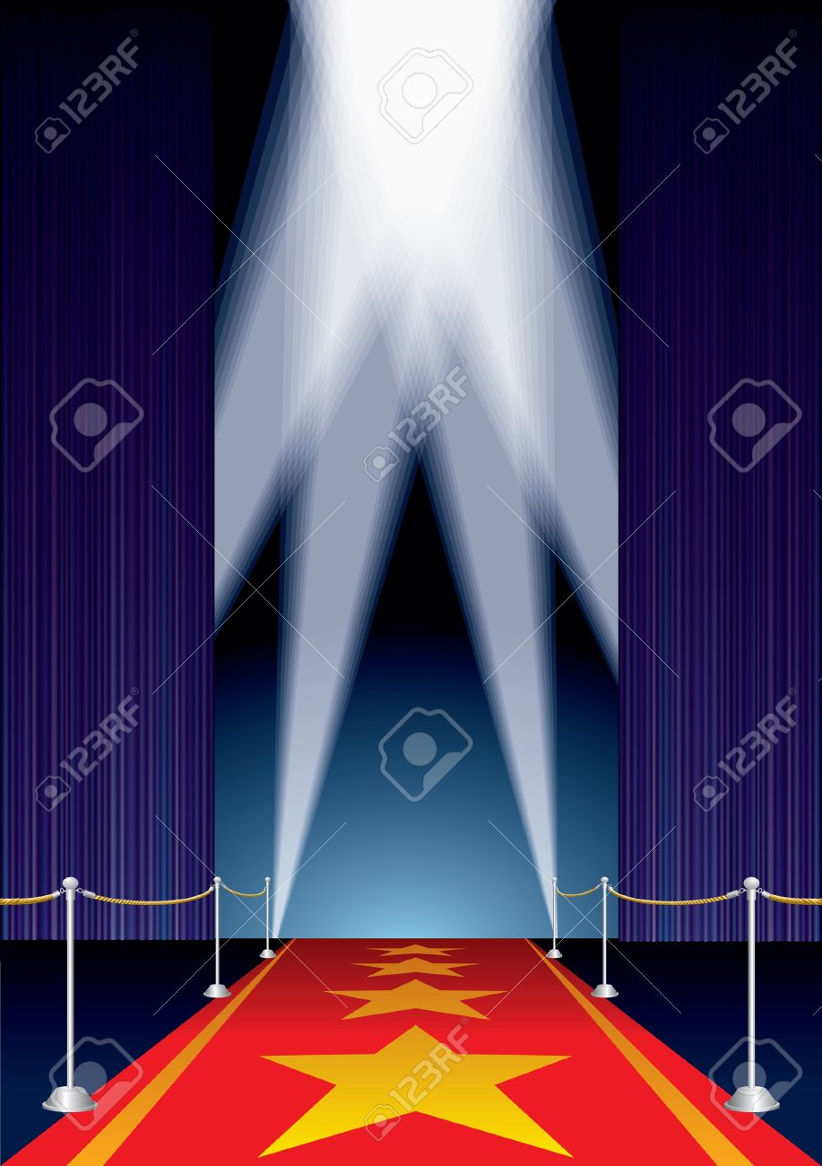 vector opened stage with purple curtain and stars on red carpet Stock Vector - 11330633