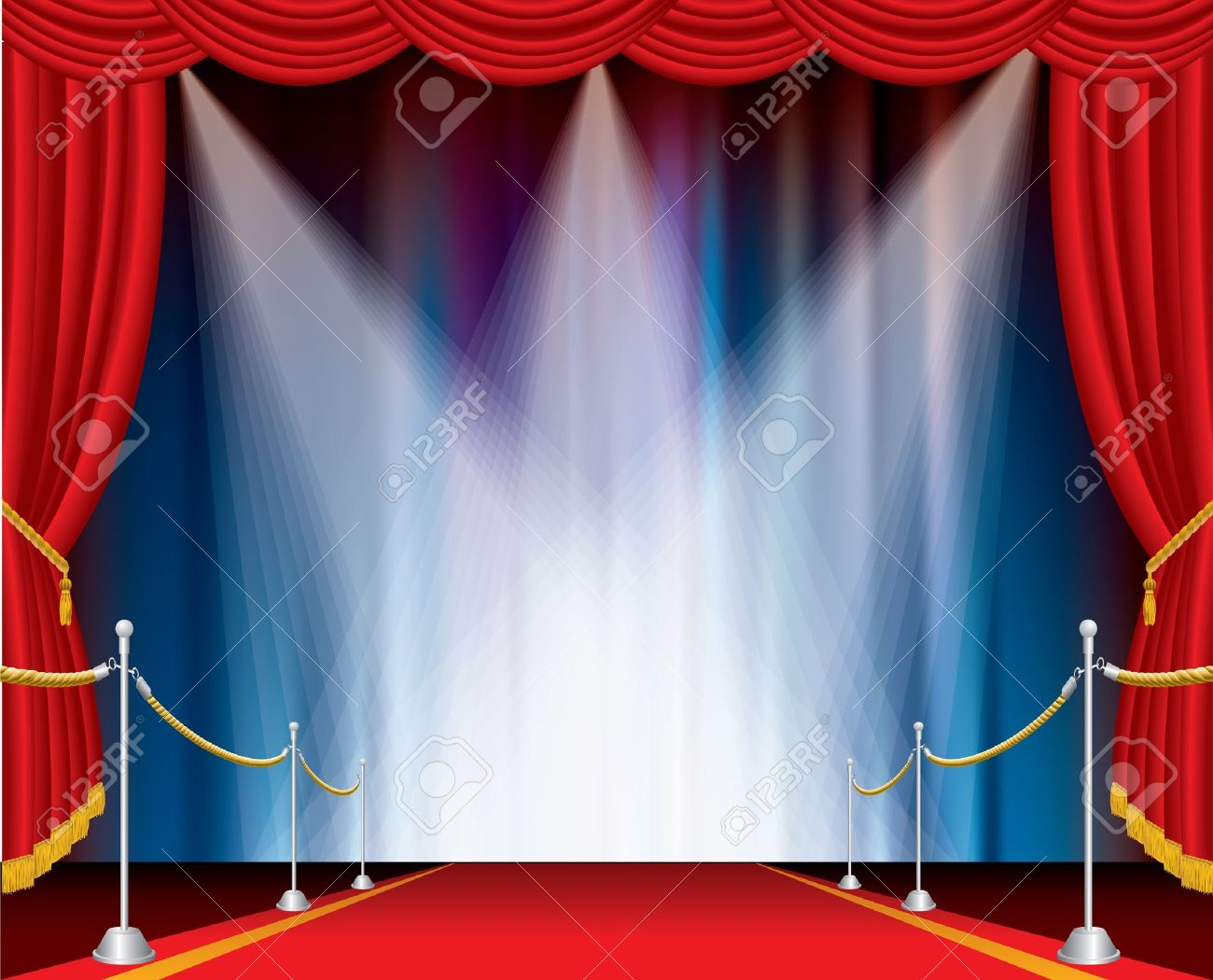 red carpet on opened stage with three spotlights Stock Vector - 11666929