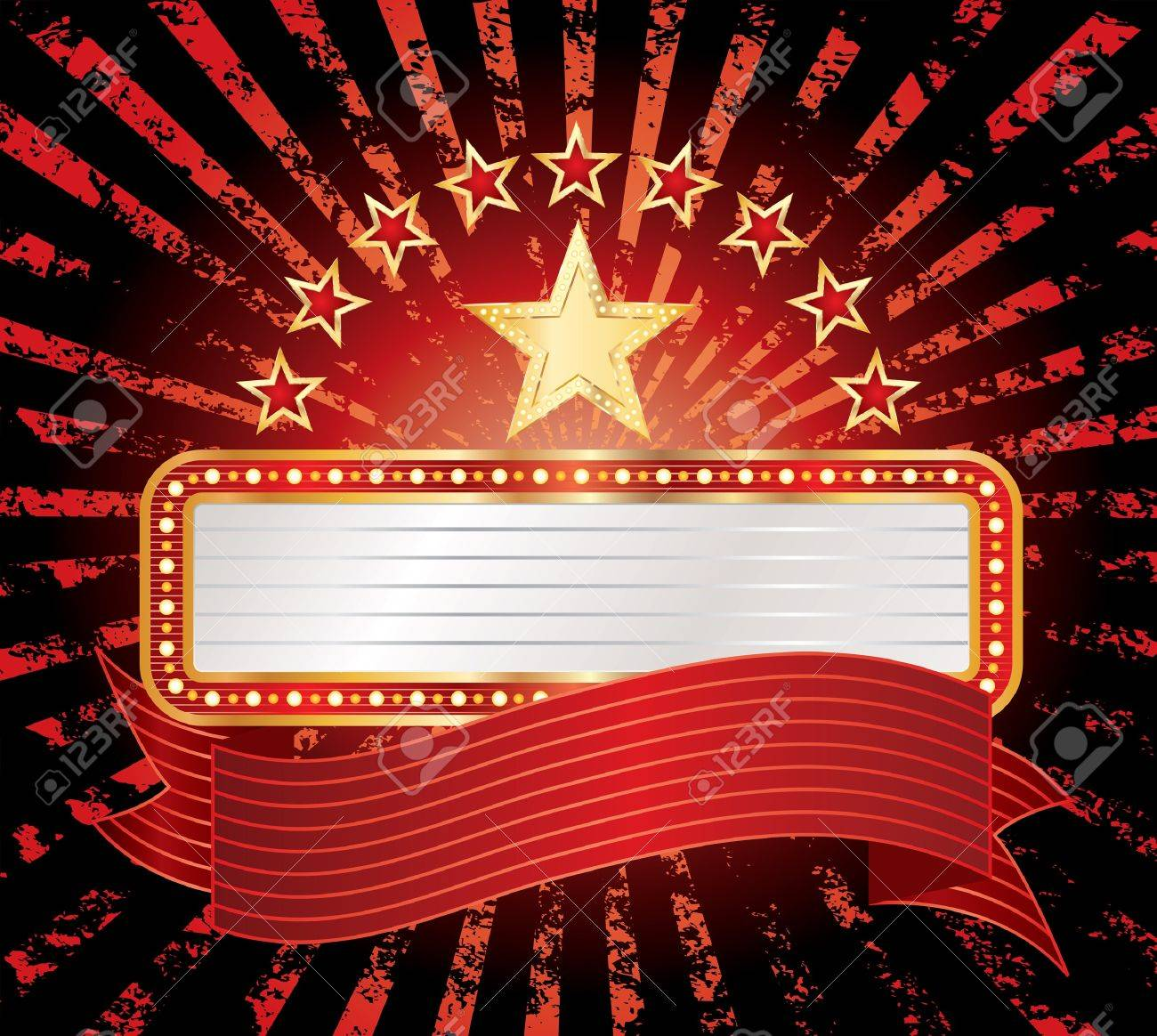 ten stars with blank billboard Stock Vector - 11824922