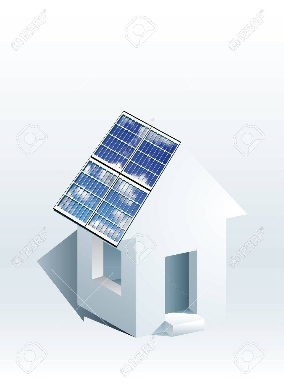 vector icon of house with solar panels Stock Vector - 12077090