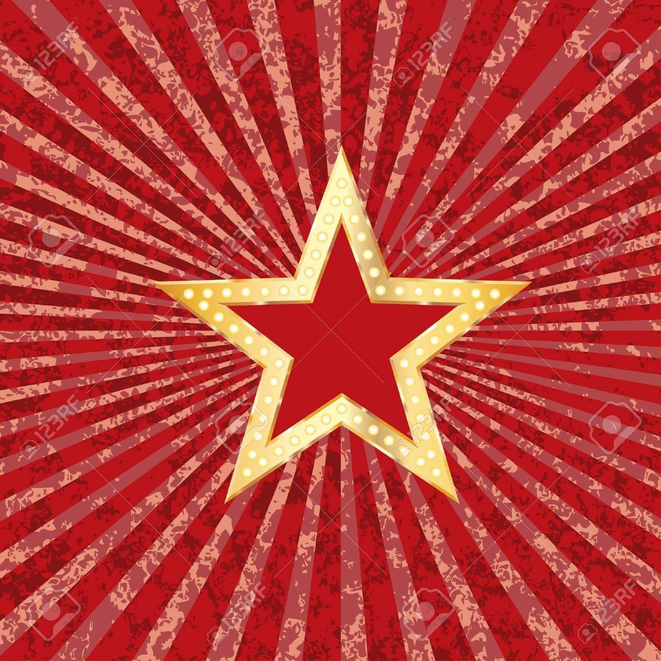 Golden Red Star On Grunge Burst Background Royalty Free Cliparts ...
