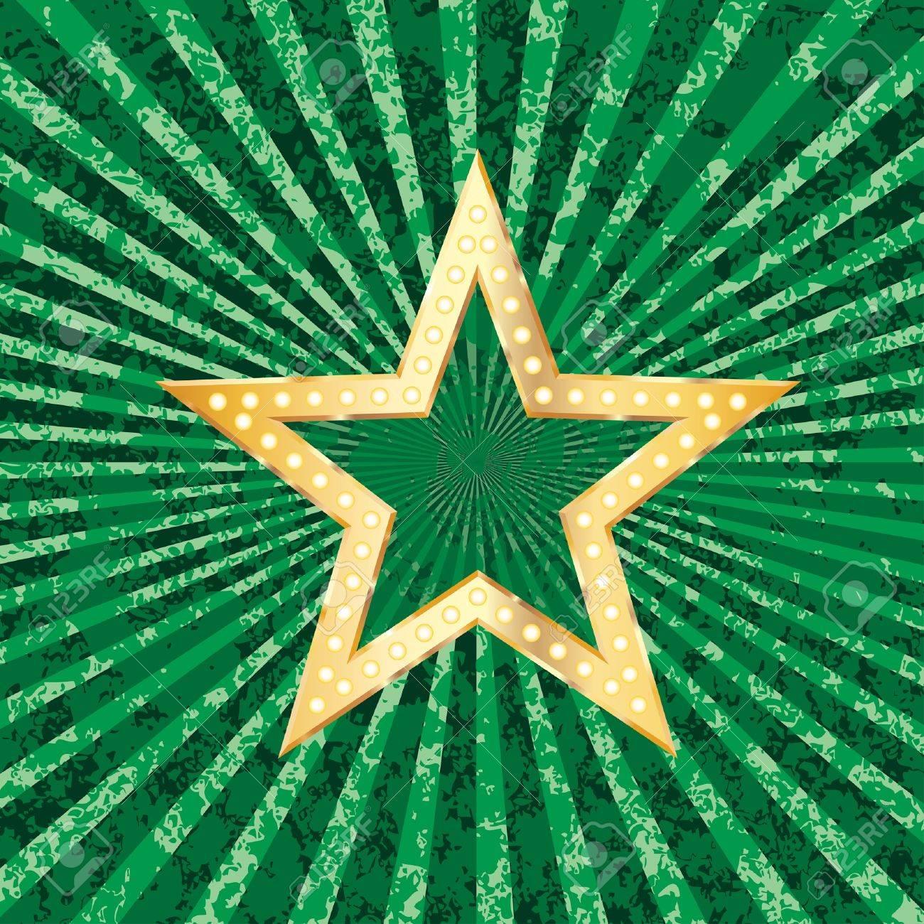 golden transparent star on green grunge burst background Stock Vector - 12759218