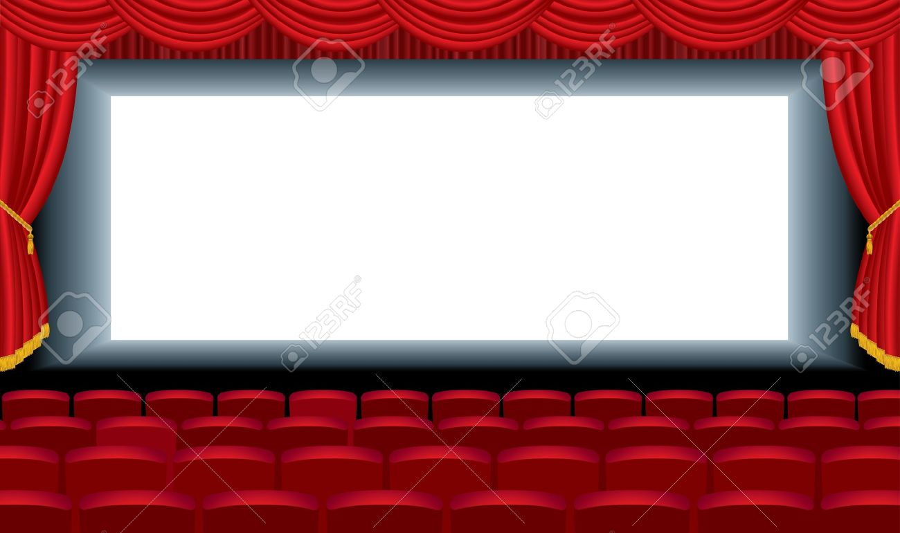 editable illustration of the empty cinema with free bottom layer for your image Stock Vector - 13159710