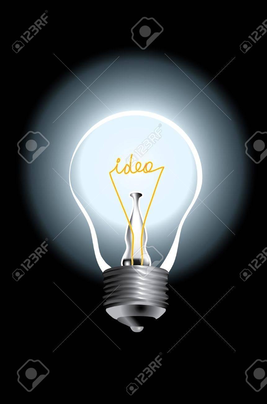 vector bulb lamp with text idea - 13787528