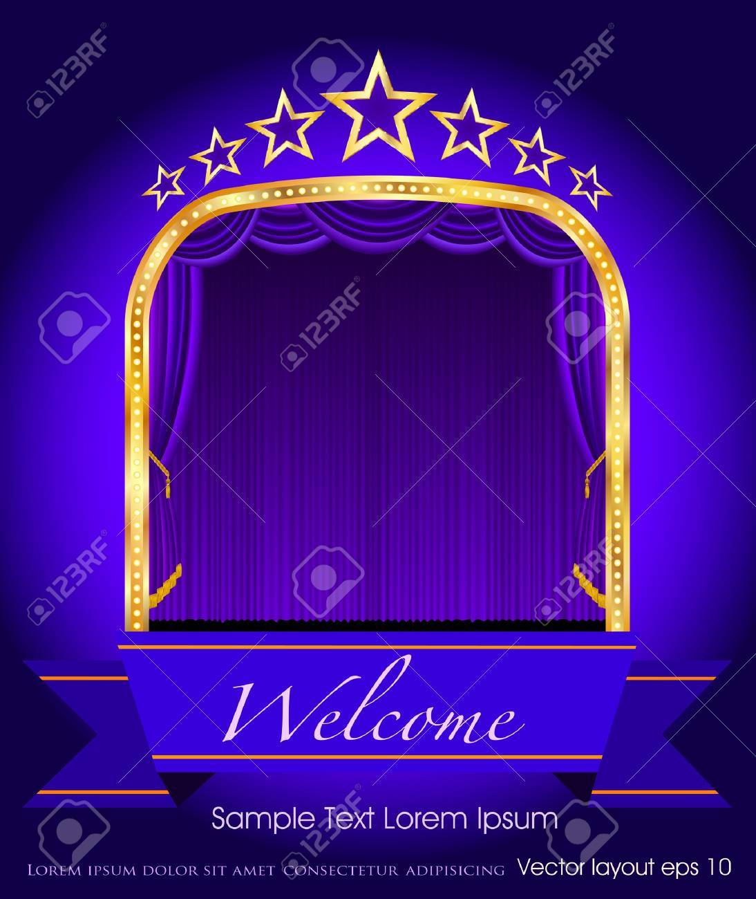 purple blank banner on stage with purple curtain and stars Stock Vector - 14131884
