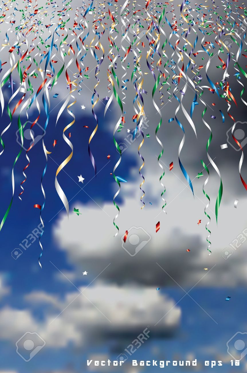 holidays background with falling confetti in sky Stock Vector - 15025721