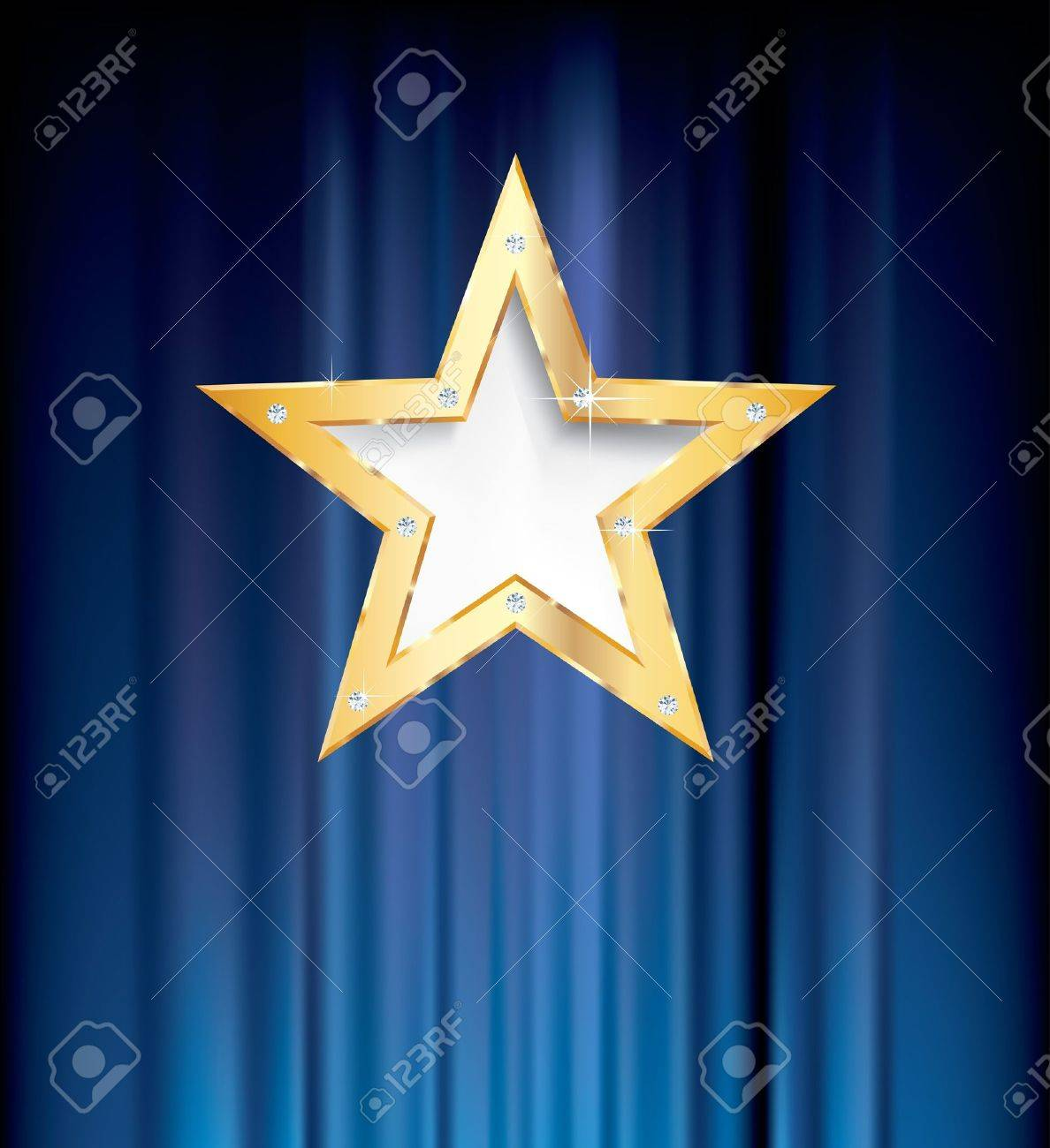 blank golden star on blue curtain Stock Vector - 15333196