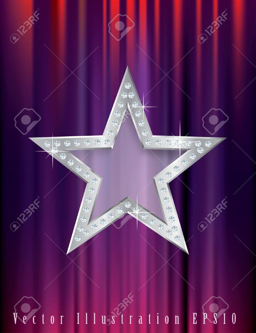 silver star with diamonds on red curtain Stock Vector - 15345664