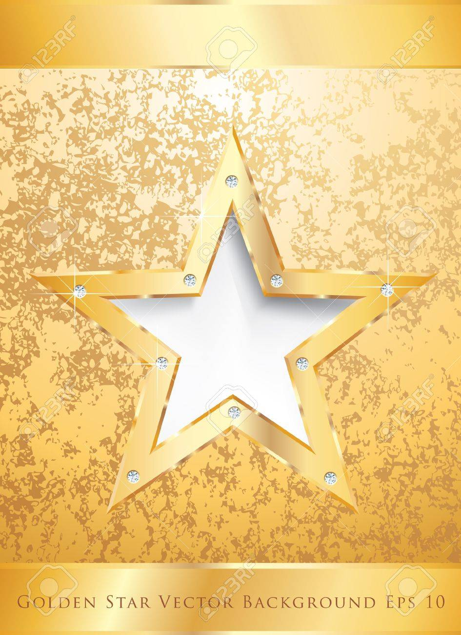 golden star on golden plate with diamond screws Stock Vector - 16555469