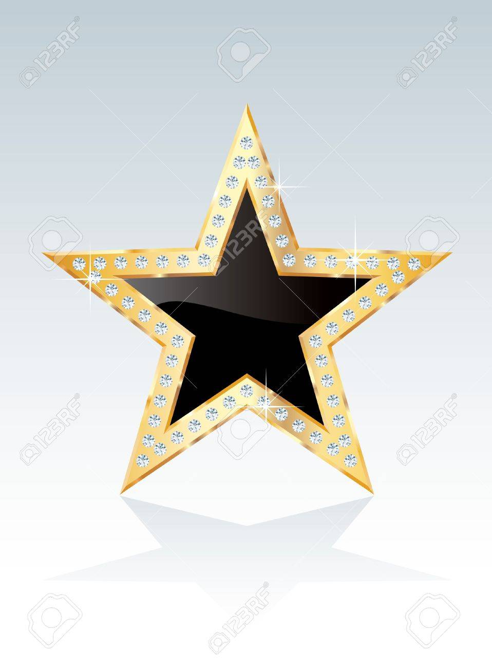 black golden star with diamond screws Stock Vector - 17050152