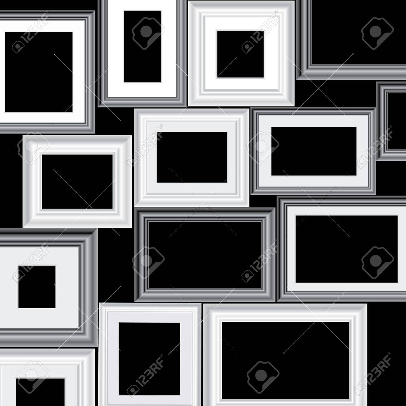 Set Of Vector Black And White Different Frames, Background Is ...