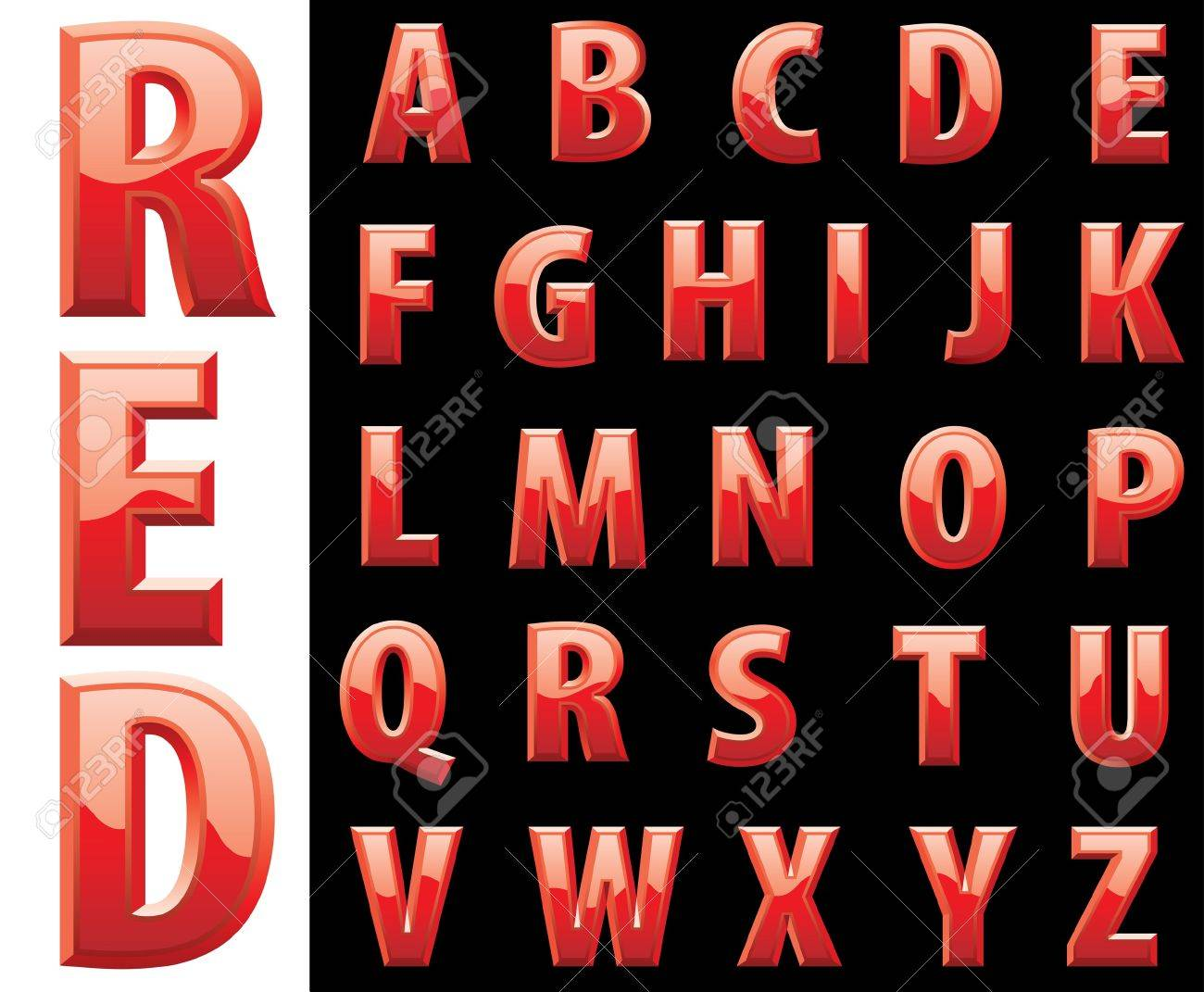 red shiny alphabet Stock Vector - 20891082