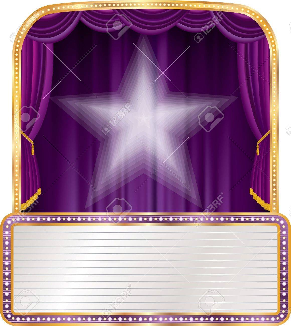 vector purple stage with white star and blank billboard Stock Vector - 21529377