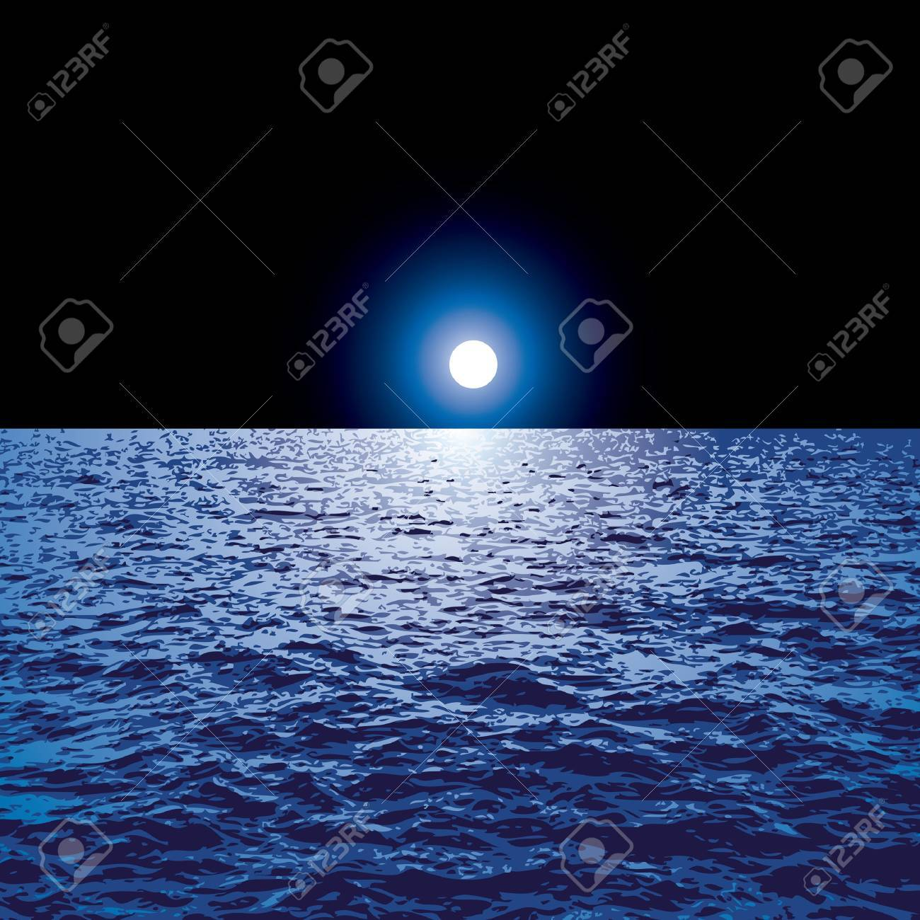 vector blue background with moon over the ocean Stock Vector - 21529429