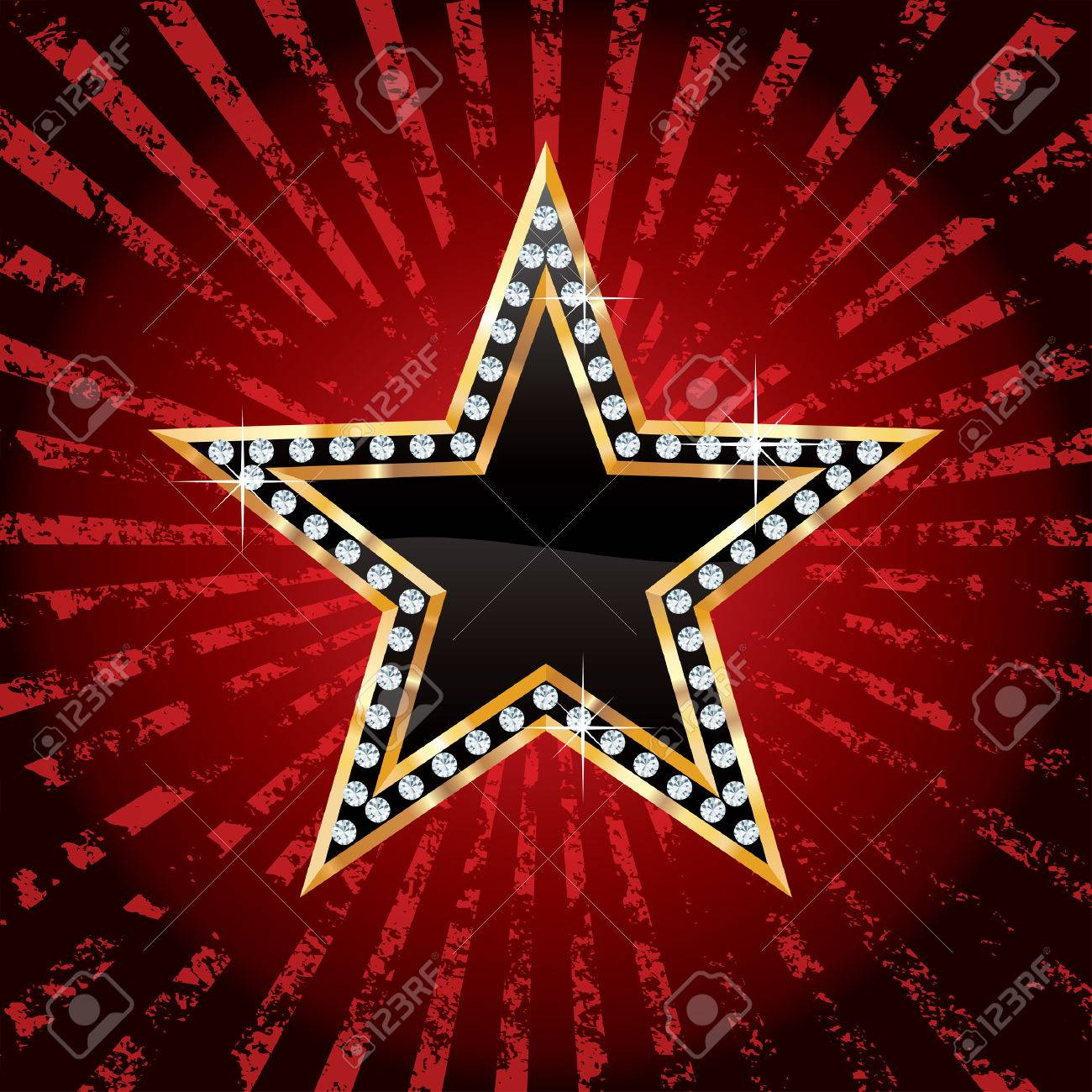 black golden star on grunge red rays Stock Vector - 23655288